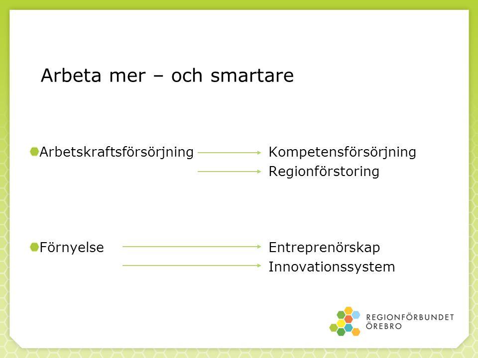 Arbeta mer – och smartare ArbetskraftsförsörjningKompetensförsörjning Regionförstoring FörnyelseEntreprenörskap Innovationssystem