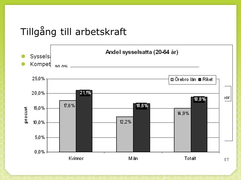 Tillgång till arbetskraft Sysselsättningsnivå Kompetensnivå Inflöde av arbetskraft från andra regioner