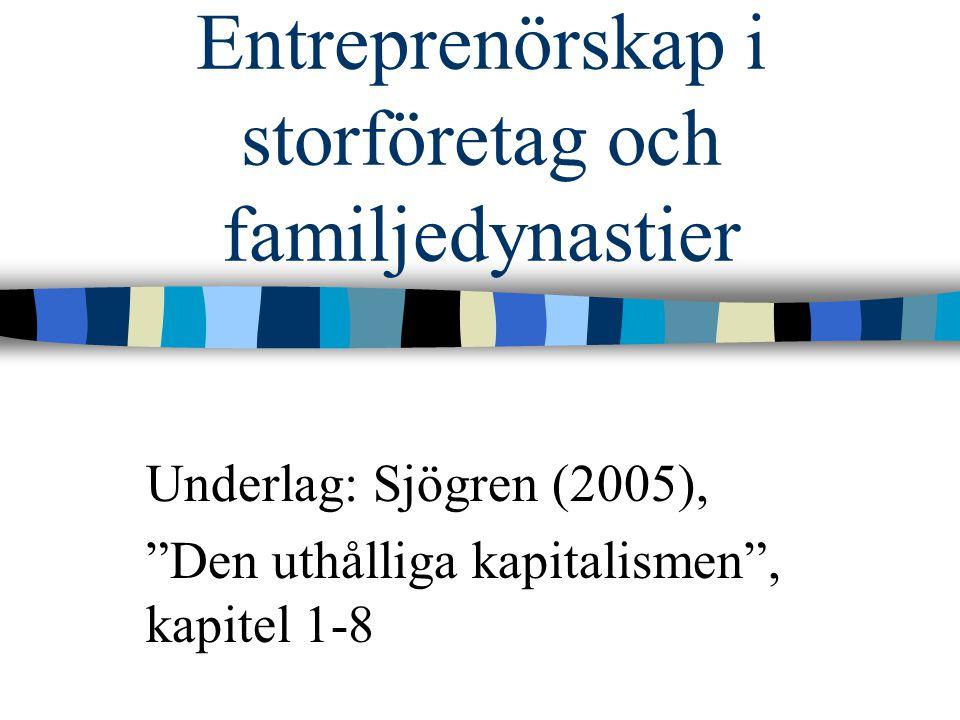 Familjeföretagande i Sverige 75% av alla bolag är familjeföretag Står för en fjärdedel av sysselsättningen Bidrar med en femtedel till BNP Deras betydelse ökar över tid