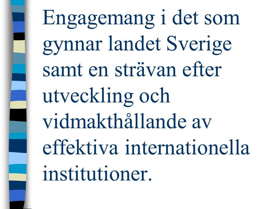 Engagemang i det som gynnar landet Sverige samt en strävan efter utveckling och vidmakthållande av effektiva internationella institutioner.