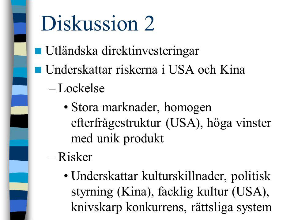 Diskussion 2 Utländska direktinvesteringar Underskattar riskerna i USA och Kina –Lockelse Stora marknader, homogen efterfrågestruktur (USA), höga vins