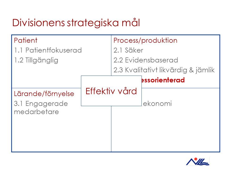 Divisionens strategiska mål Patient 1.1 Patientfokuserad 1.2 Tillgänglig Process/produktion 2.1 Säker 2.2 Evidensbaserad 2.3 Kvalitativt likvärdig & j
