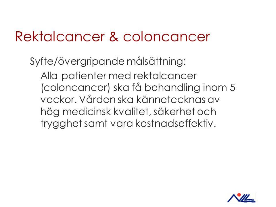 Rektalcancer & coloncancer Syfte/övergripande målsättning: Alla patienter med rektalcancer (coloncancer) ska få behandling inom 5 veckor. Vården ska k