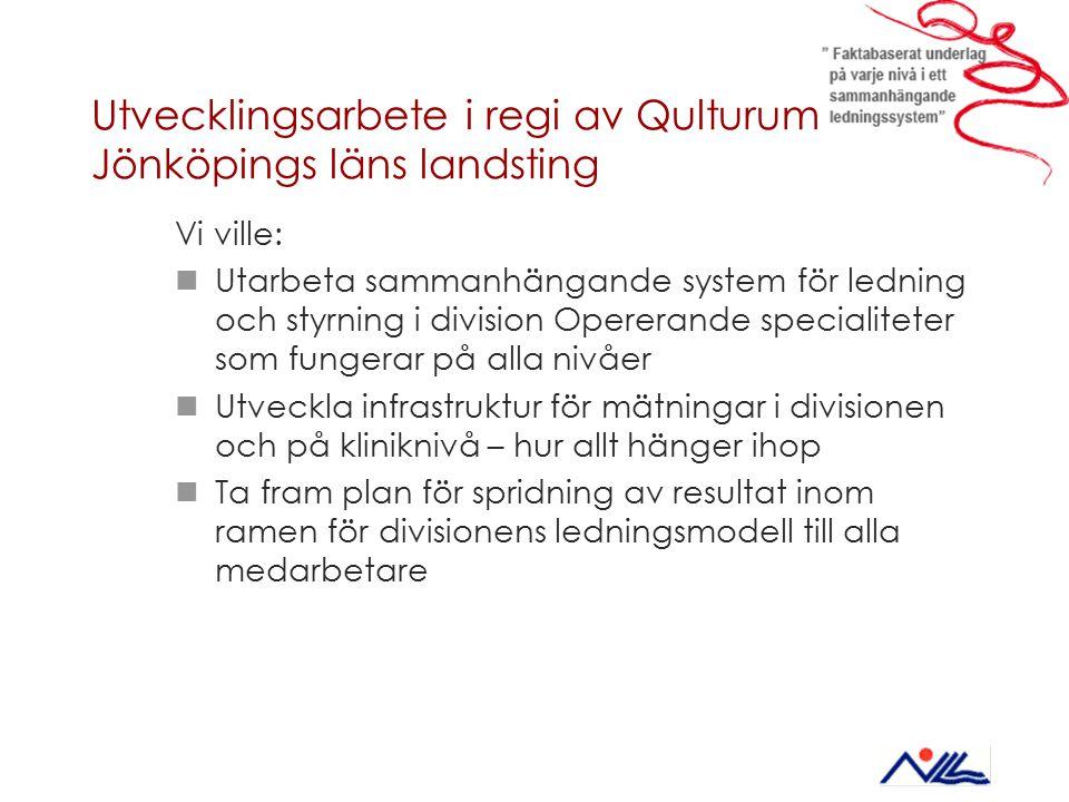Utvecklingsarbete i regi av Qulturum – Jönköpings läns landsting Vi ville: Utarbeta sammanhängande system för ledning och styrning i division Opereran