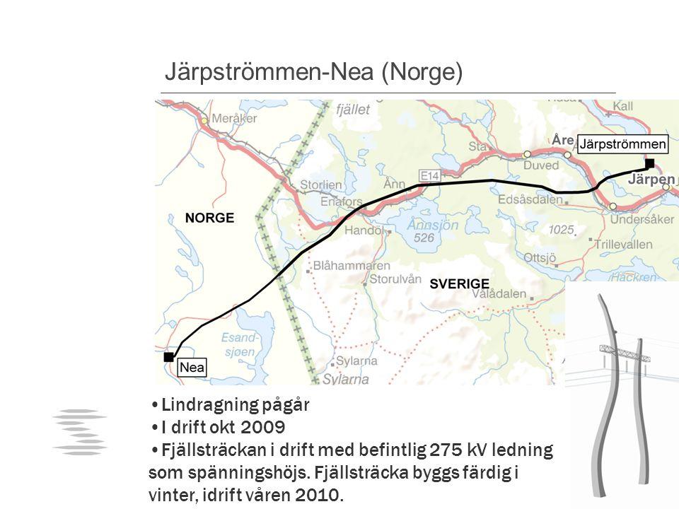 Järpströmmen-Nea (Norge) Lindragning pågår I drift okt 2009 Fjällsträckan i drift med befintlig 275 kV ledning som spänningshöjs.