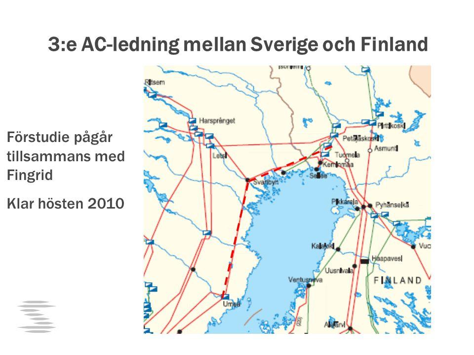 3:e AC-ledning mellan Sverige och Finland Förstudie pågår tillsammans med Fingrid Klar hösten 2010