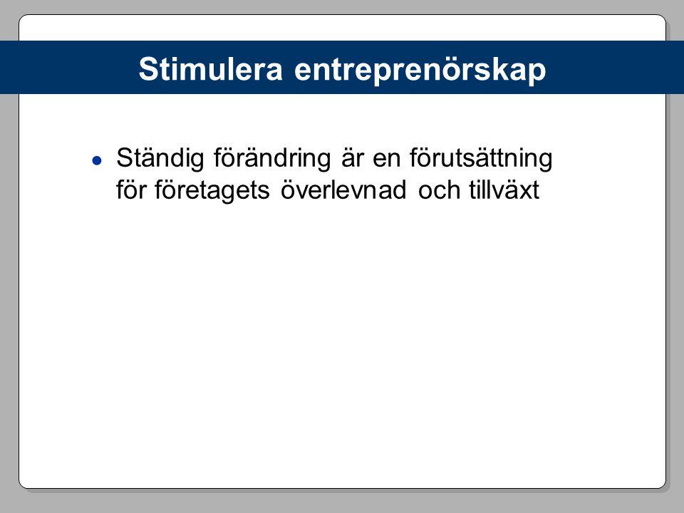 Stimulera entreprenörskap ● Ständig förändring är en förutsättning för företagets överlevnad och tillväxt
