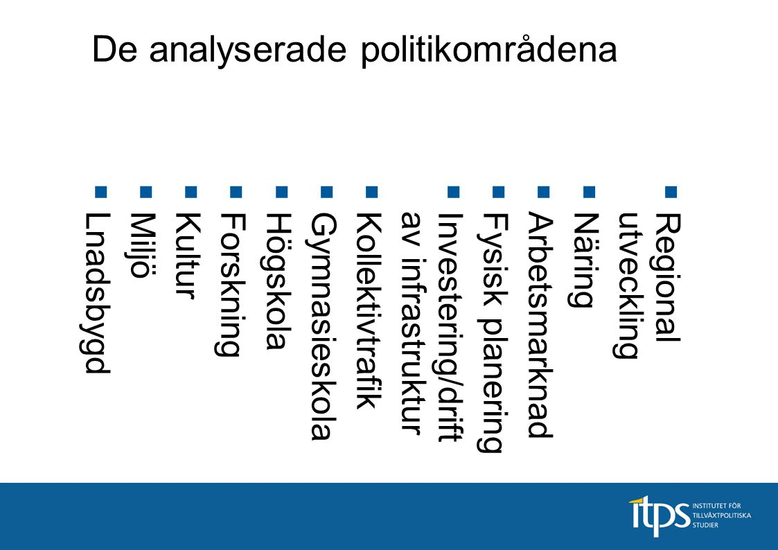 De analyserade politikområdena  Regionalutveckling  Näring  Arbetsmarknad  Fysisk planering  Investering/driftav infrastruktur  Kollektivtrafik