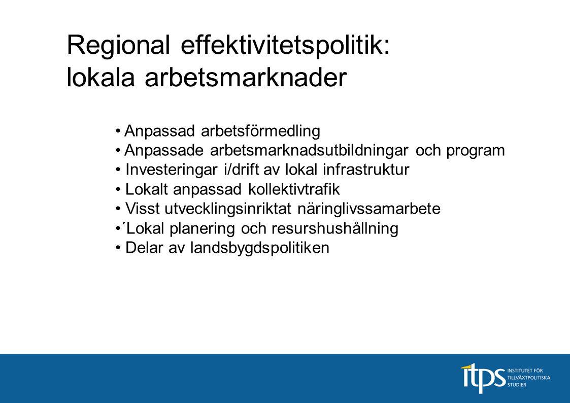 Regional effektivitetspolitik: lokala arbetsmarknader Anpassad arbetsförmedling Anpassade arbetsmarknadsutbildningar och program Investeringar i/drift