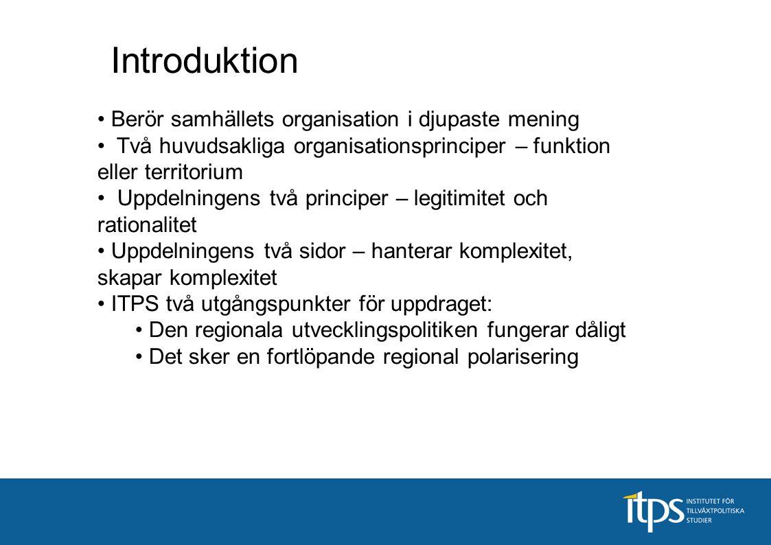 Berör samhällets organisation i djupaste mening Två huvudsakliga organisationsprinciper – funktion eller territorium Uppdelningens två principer – leg