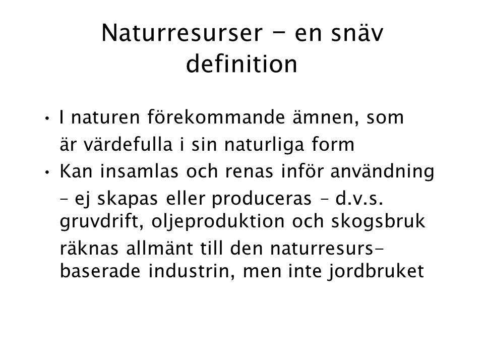 Naturresurser – en snäv definition I naturen förekommande ämnen, som är värdefulla i sin naturliga form Kan insamlas och renas inför användning – ej skapas eller produceras – d.v.s.