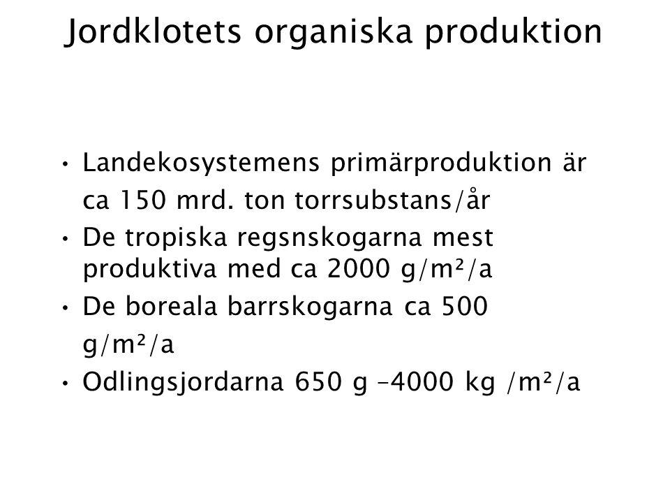 Jordklotets organiska produktion Landekosystemens primärproduktion är ca 150 mrd.