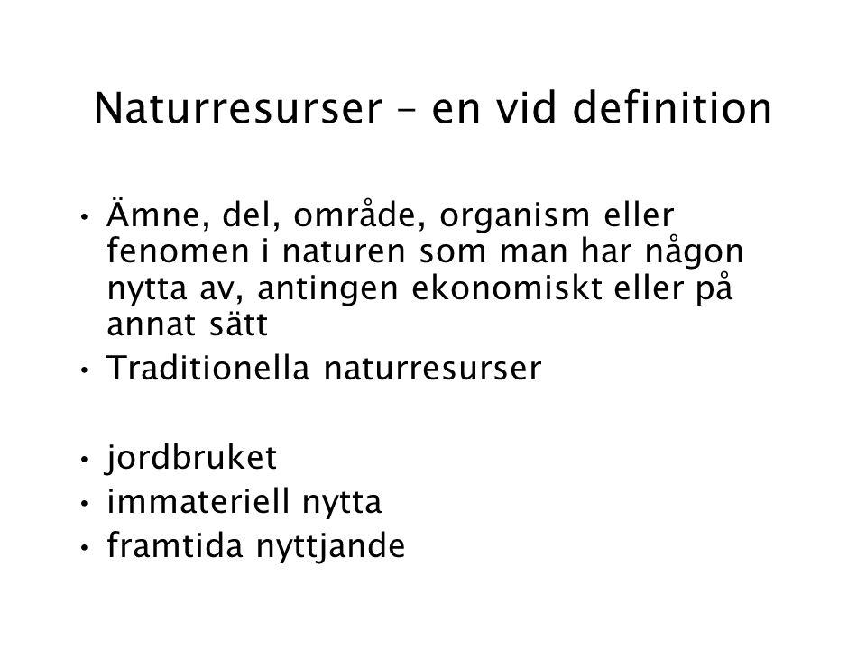 Naturresurser – en vid definition Ämne, del, område, organism eller fenomen i naturen som man har någon nytta av, antingen ekonomiskt eller på annat sätt Traditionella naturresurser jordbruket immateriell nytta framtida nyttjande