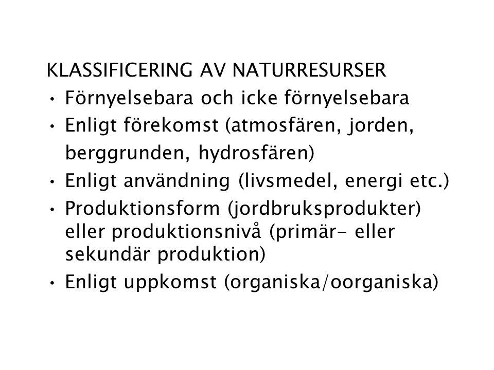 KLASSIFICERING AV NATURRESURSER Förnyelsebara och icke förnyelsebara Enligt förekomst (atmosfären, jorden, berggrunden, hydrosfären) Enligt användning (livsmedel, energi etc.) Produktionsform (jordbruksprodukter) eller produktionsnivå (primär- eller sekundär produktion) Enligt uppkomst (organiska/oorganiska)