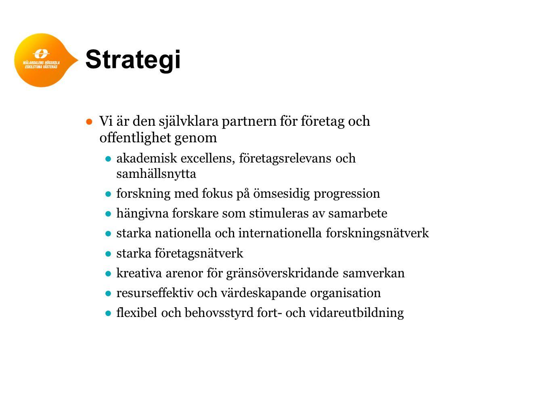 Strategi ● Vi är den självklara partnern för företag och offentlighet genom ●akademisk excellens, företagsrelevans och samhällsnytta ●forskning med fo