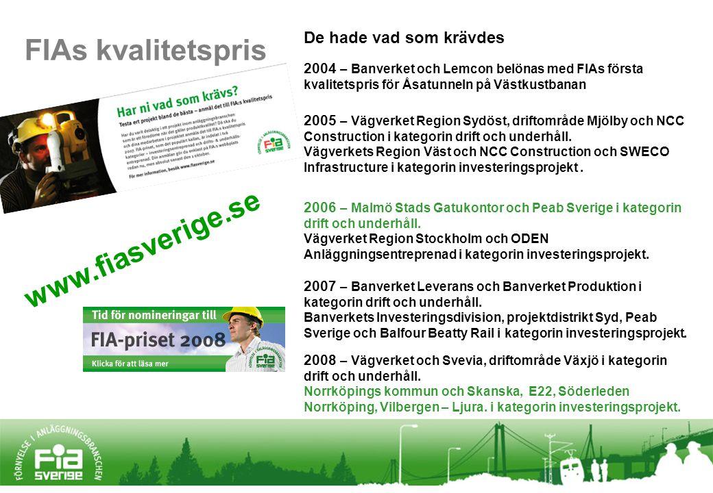 www.fiasverige.se 2004 – Banverket och Lemcon belönas med FIAs första kvalitetspris för Åsatunneln på Västkustbanan 2005 – Vägverket Region Sydöst, driftområde Mjölby och NCC Construction i kategorin drift och underhåll.