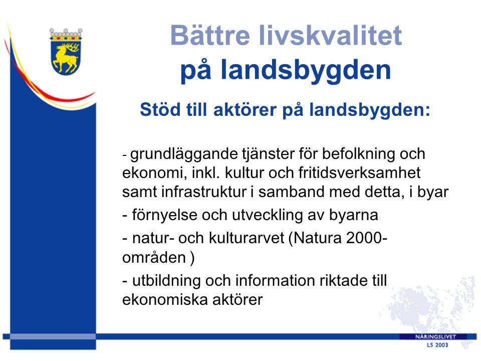 Bättre livskvalitet på landsbygden Stöd till aktörer på landsbygden: - grundläggande tjänster för befolkning och ekonomi, inkl. kultur och fritidsverk