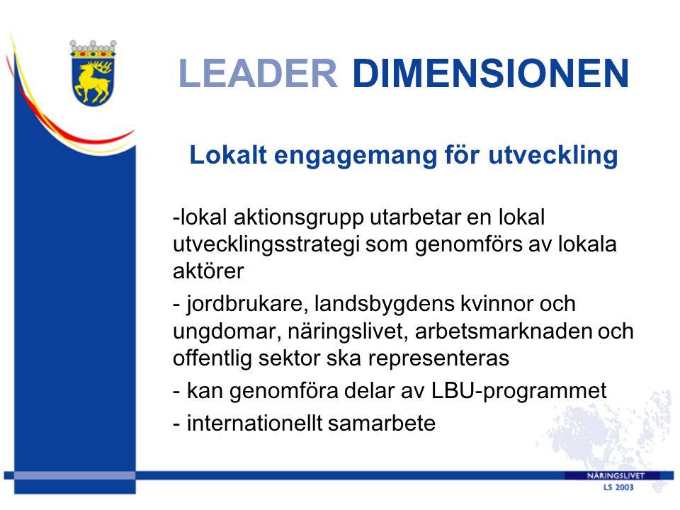 LEADER DIMENSIONEN Lokalt engagemang för utveckling -lokal aktionsgrupp utarbetar en lokal utvecklingsstrategi som genomförs av lokala aktörer - jordbrukare, landsbygdens kvinnor och ungdomar, näringslivet, arbetsmarknaden och offentlig sektor ska representeras - kan genomföra delar av LBU-programmet - internationellt samarbete