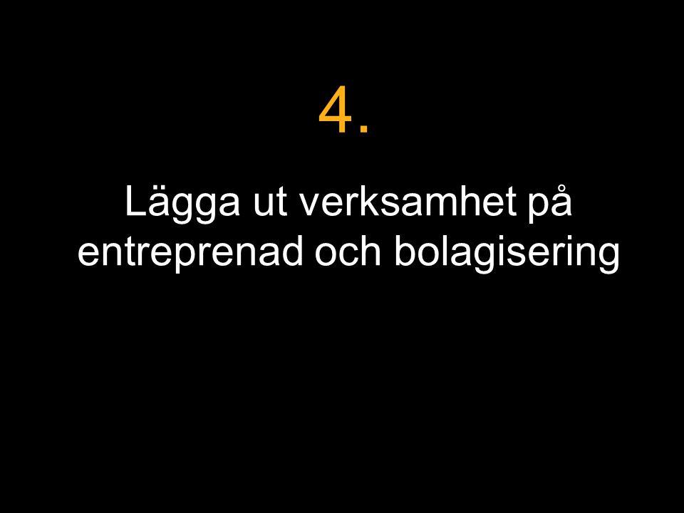 Lägga ut verksamhet på entreprenad och bolagisering 4.