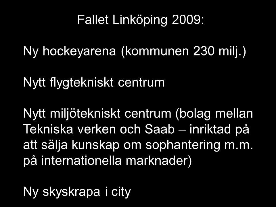 Fallet Linköping 2009: Ny hockeyarena (kommunen 230 milj.) Nytt flygtekniskt centrum Nytt miljötekniskt centrum (bolag mellan Tekniska verken och Saab