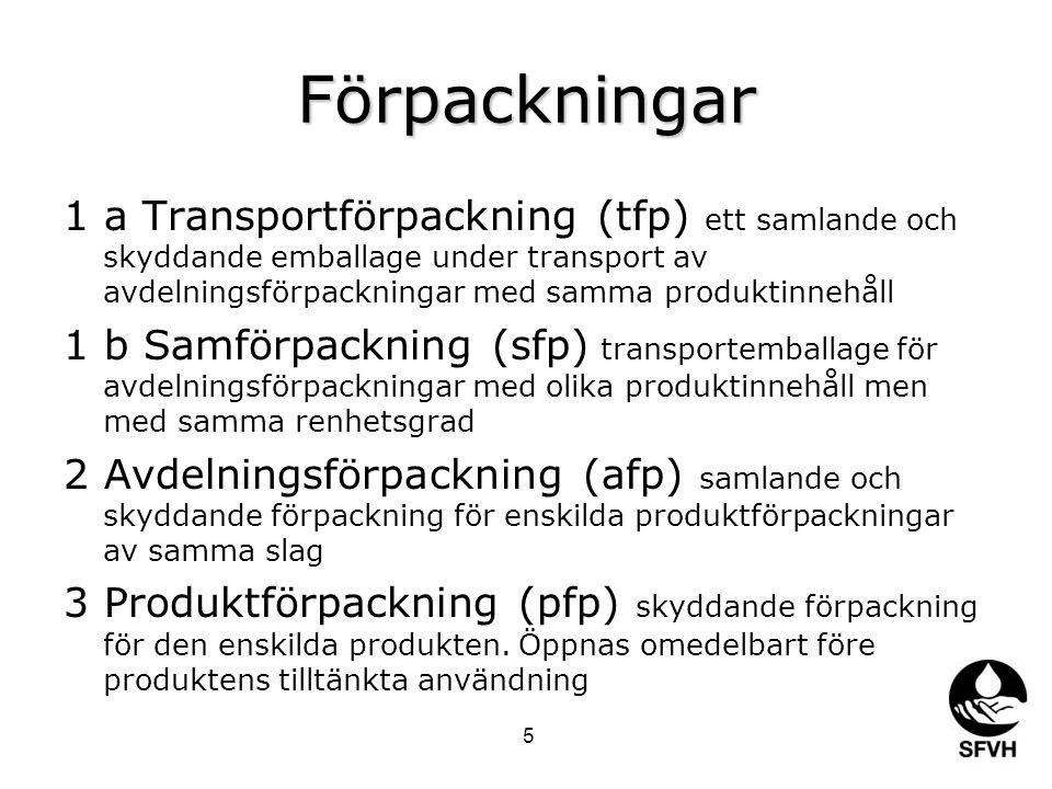 Förpackningar 1 a Transportförpackning (tfp) ett samlande och skyddande emballage under transport av avdelningsförpackningar med samma produktinnehåll 1 b Samförpackning (sfp) transportemballage för avdelningsförpackningar med olika produktinnehåll men med samma renhetsgrad 2 Avdelningsförpackning (afp) samlande och skyddande förpackning för enskilda produktförpackningar av samma slag 3 Produktförpackning (pfp) skyddande förpackning för den enskilda produkten.