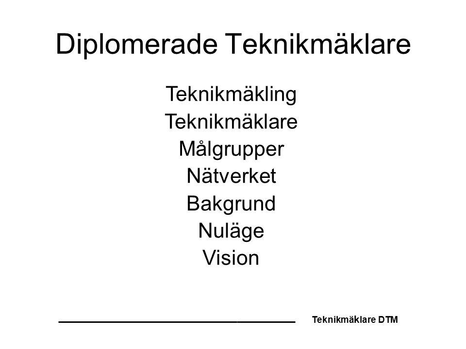 Teknikmä k lare DTM Diplomerade Teknikmäklare Teknikmäkling Teknikmäklare Målgrupper Nätverket Bakgrund Nuläge Vision