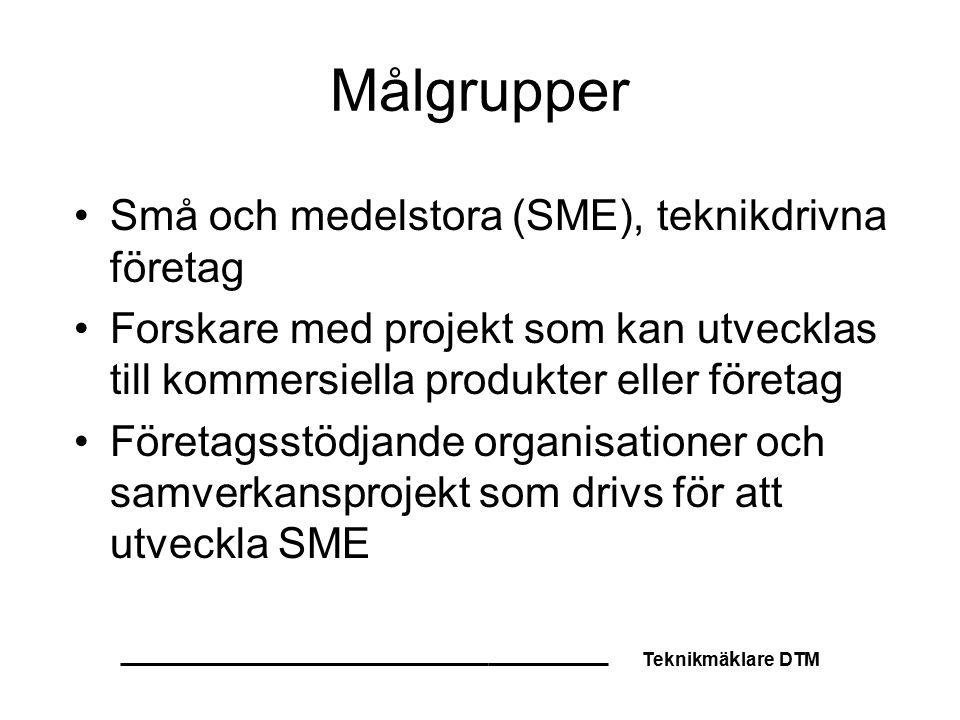 Teknikmä k lare DTM Målgrupper Små och medelstora (SME), teknikdrivna företag Forskare med projekt som kan utvecklas till kommersiella produkter eller företag Företagsstödjande organisationer och samverkansprojekt som drivs för att utveckla SME