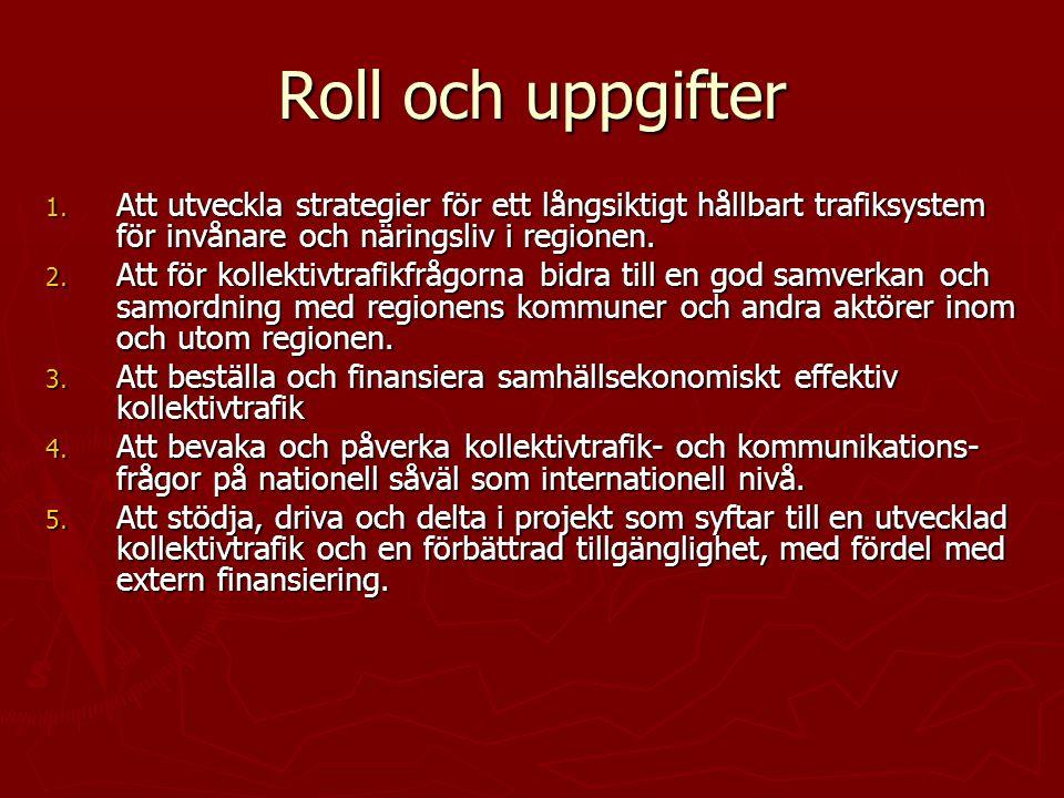 Roll och uppgifter 1. Att utveckla strategier för ett långsiktigt hållbart trafiksystem för invånare och näringsliv i regionen. 2. Att för kollektivtr