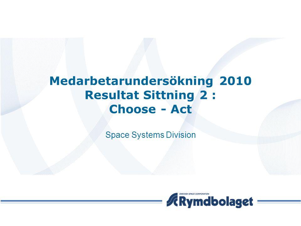 Medarbetarundersökning 2010 Resultat Sittning 2 : Choose - Act Space Systems Division