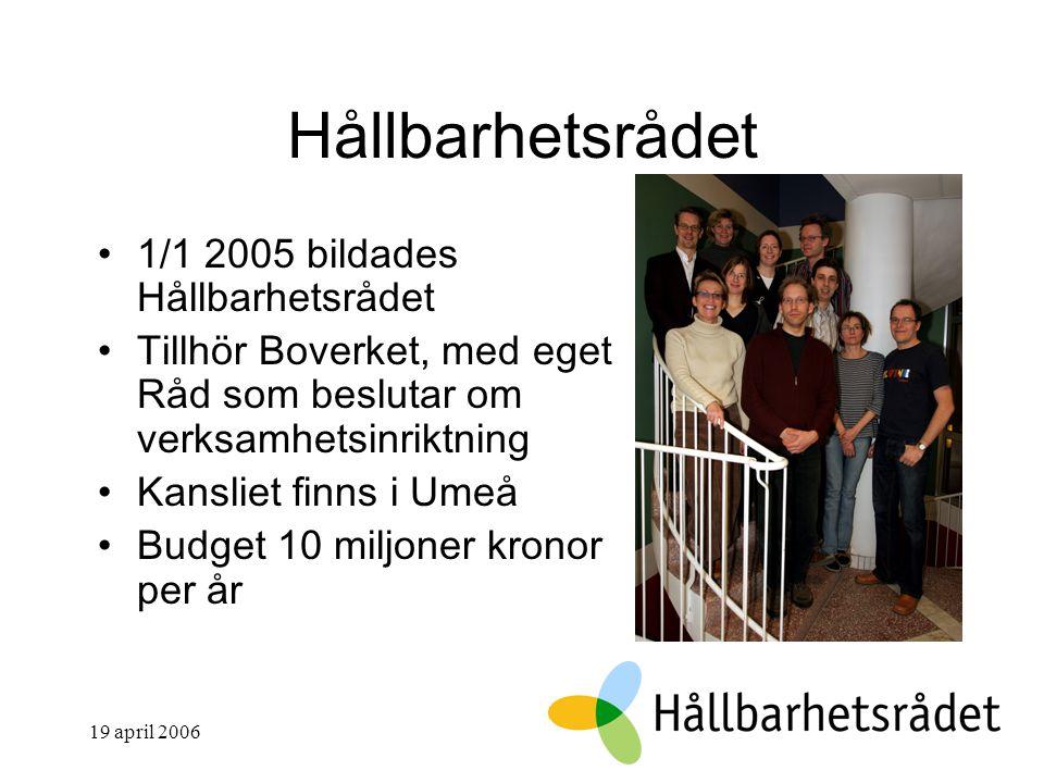 19 april 2006 Hållbarhetsrådet 1/1 2005 bildades Hållbarhetsrådet Tillhör Boverket, med eget Råd som beslutar om verksamhetsinriktning Kansliet finns i Umeå Budget 10 miljoner kronor per år