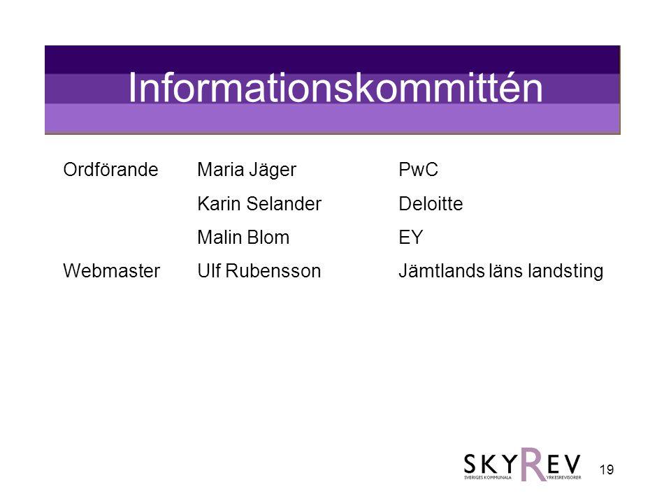 19 Informationskommittén OrdförandeMaria Jäger PwC Karin Selander Deloitte Malin BlomEY WebmasterUlf RubenssonJämtlands läns landsting