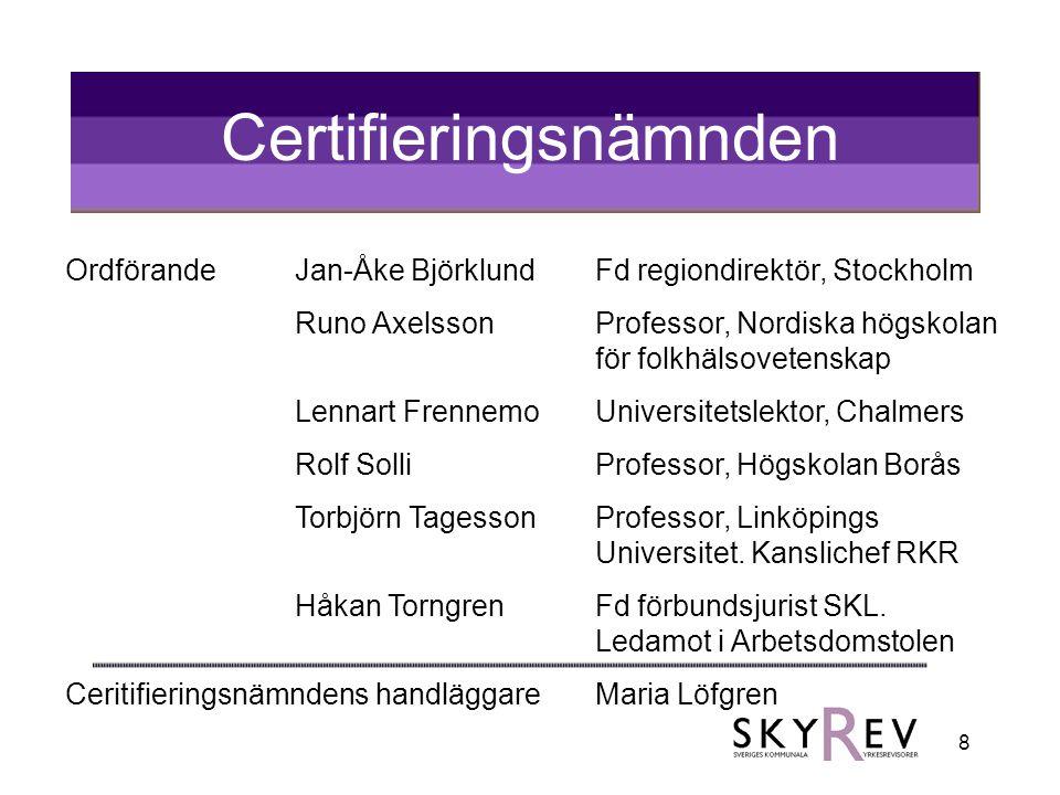 8 Certifieringsnämnden OrdförandeJan-Åke BjörklundFd regiondirektör, Stockholm Runo AxelssonProfessor, Nordiska högskolan för folkhälsovetenskap Lenna