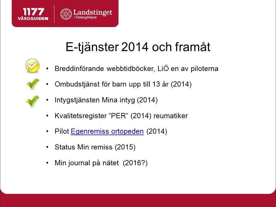 E-tjänster 2014 och framåt Breddinförande webbtidböcker, LiÖ en av piloterna Ombudstjänst för barn upp till 13 år (2014) Intygstjänsten Mina intyg (20