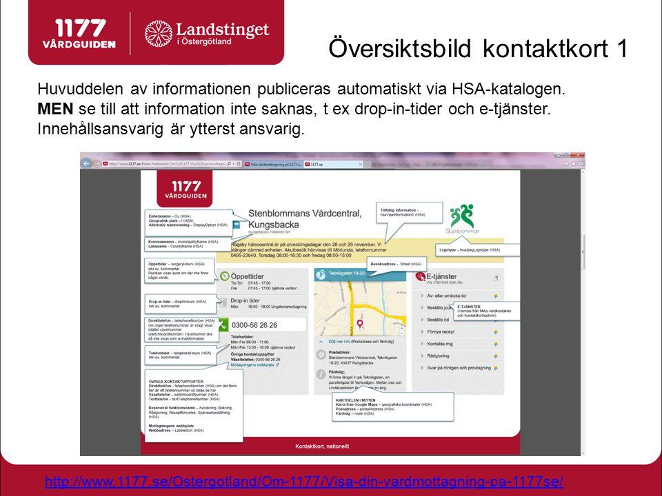 Översiktsbild kontaktkort 1 Huvuddelen av informationen publiceras automatiskt via HSA-katalogen. MEN se till att information inte saknas, t ex drop-i