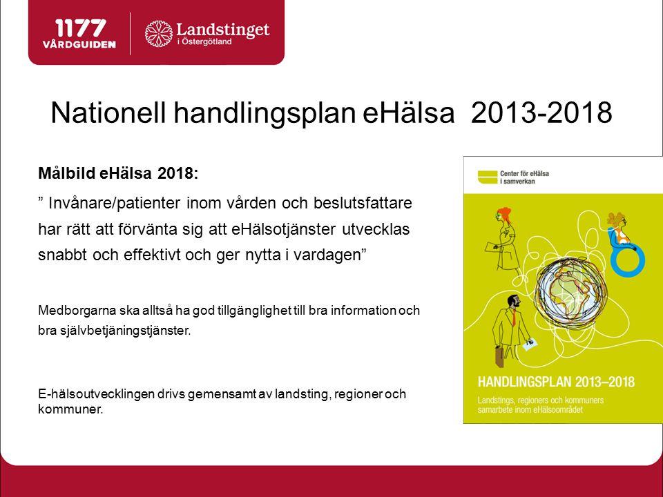 """Nationell handlingsplan eHälsa 2013-2018 Målbild eHälsa 2018: """" Invånare/patienter inom vården och beslutsfattare har rätt att förvänta sig att eHälso"""
