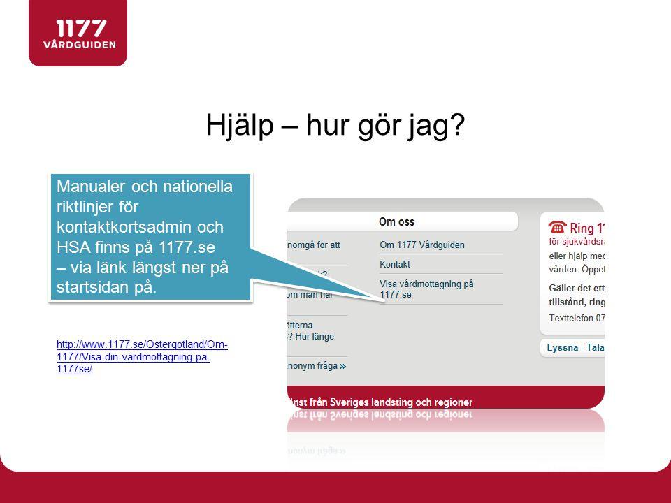 Hjälp – hur gör jag? http://www.1177.se/Ostergotland/Om- 1177/Visa-din-vardmottagning-pa- 1177se/ Manualer och nationella riktlinjer för kontaktkortsa