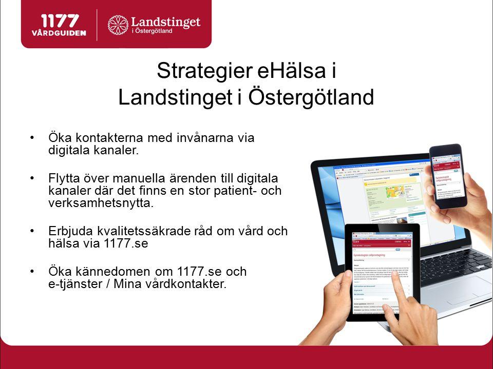 Strategier eHälsa i Landstinget i Östergötland Öka kontakterna med invånarna via digitala kanaler. Flytta över manuella ärenden till digitala kanaler
