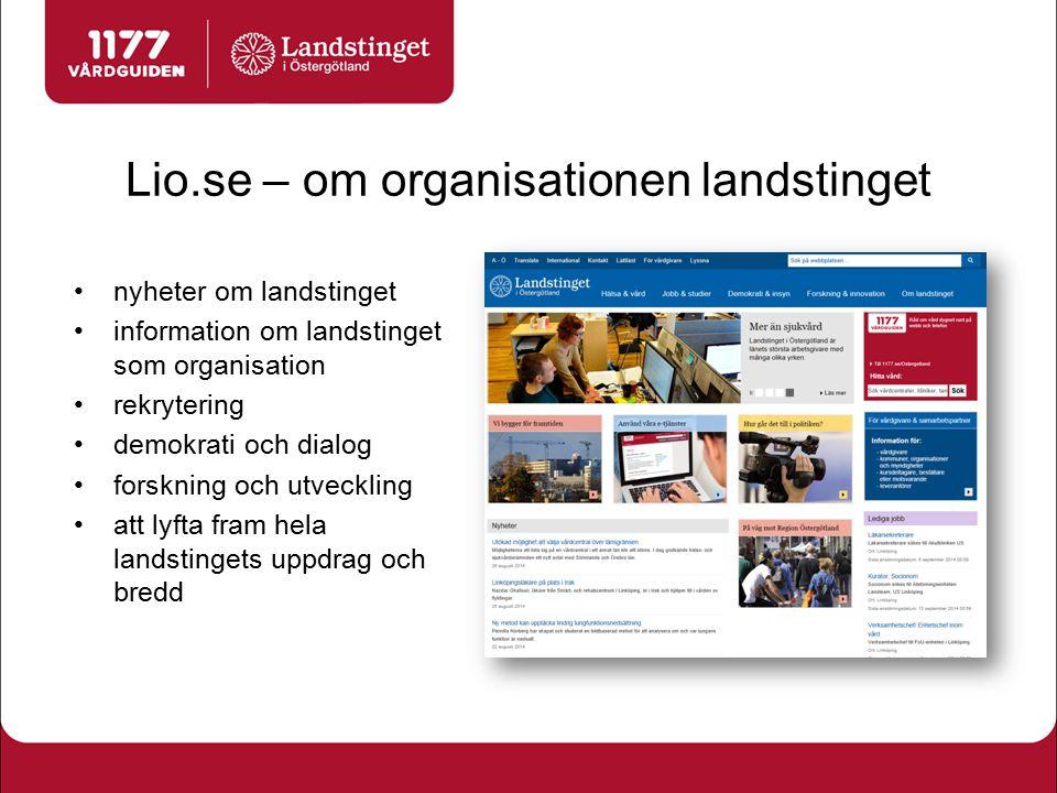 Lio.se – om organisationen landstinget nyheter om landstinget information om landstinget som organisation rekrytering demokrati och dialog forskning o