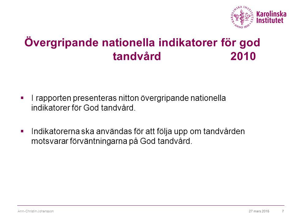 Nationell utvärdering 2013-Tandvård Syftet var att belysa: Tandvårdens,strukturer processer och resultat 27 mars 2015 Ann-Christin Johansson8