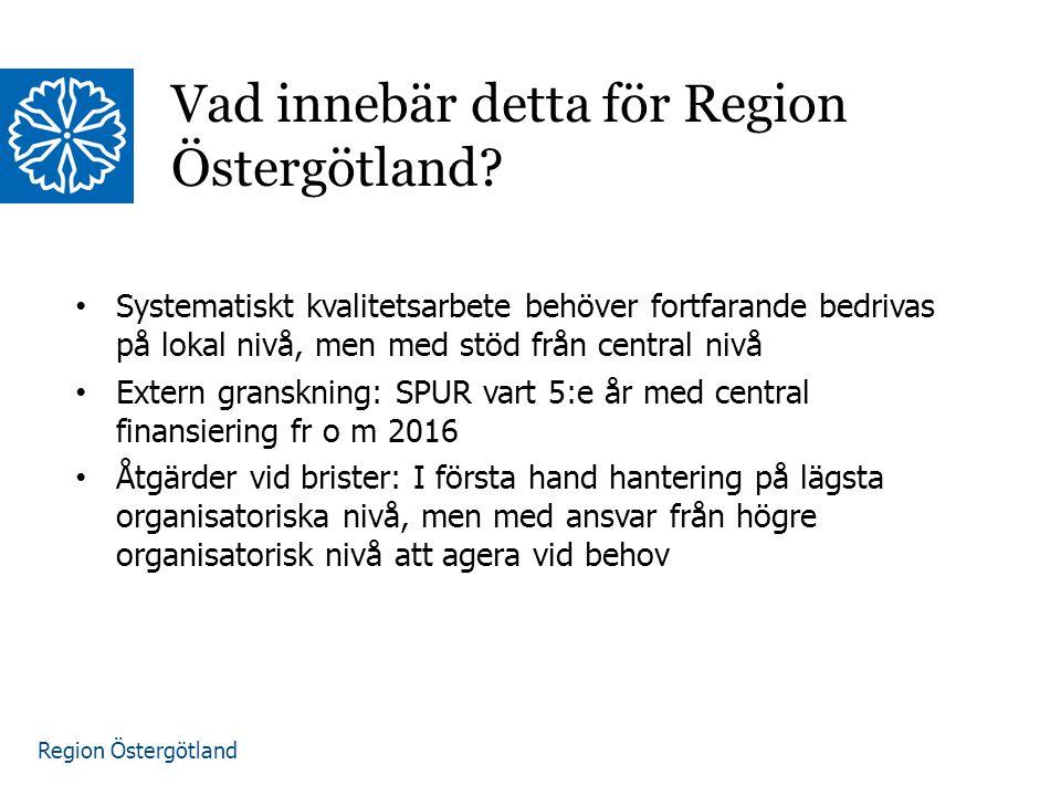 Region Östergötland Vad innebär detta för Region Östergötland? Systematiskt kvalitetsarbete behöver fortfarande bedrivas på lokal nivå, men med stöd f