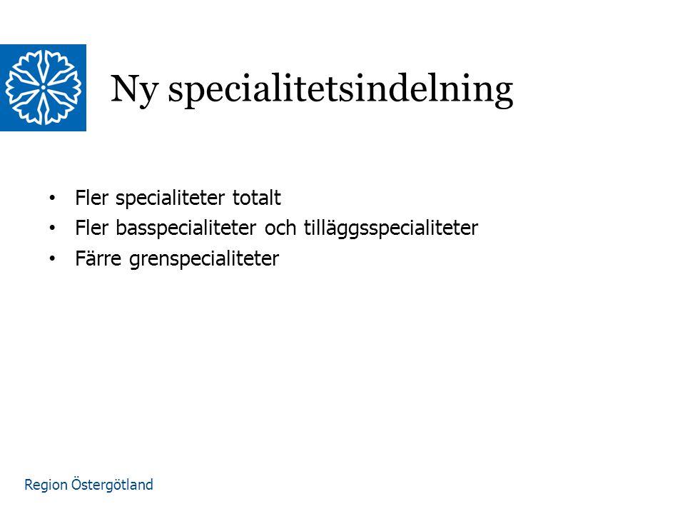 Region Östergötland Ny specialitetsindelning Fler specialiteter totalt Fler basspecialiteter och tilläggsspecialiteter Färre grenspecialiteter