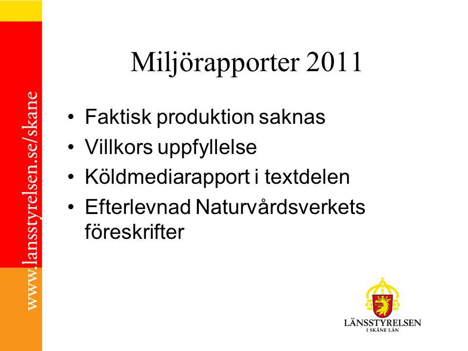 Miljörapporter 2011 Faktisk produktion saknas Villkors uppfyllelse Köldmediarapport i textdelen Efterlevnad Naturvårdsverkets föreskrifter