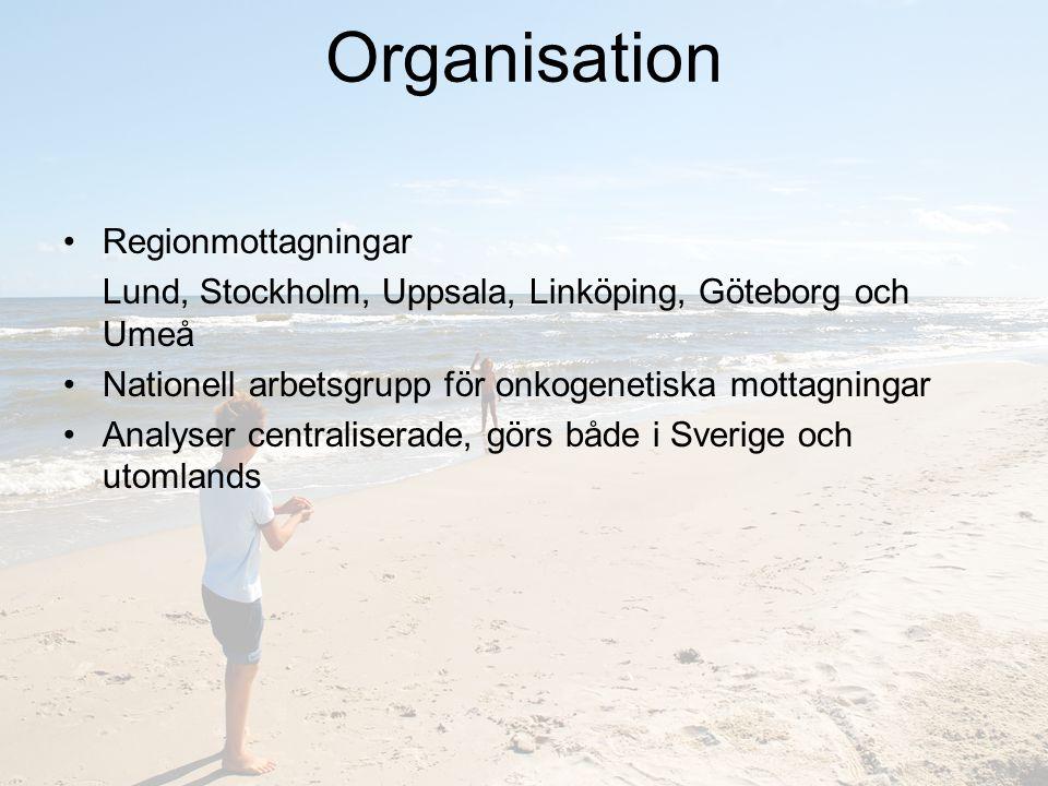 Organisation Regionmottagningar Lund, Stockholm, Uppsala, Linköping, Göteborg och Umeå Nationell arbetsgrupp för onkogenetiska mottagningar Analyser centraliserade, görs både i Sverige och utomlands