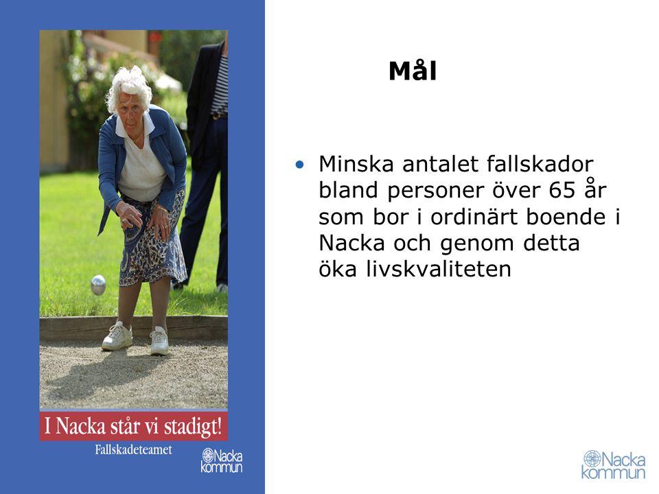 Mål Minska antalet fallskador bland personer över 65 år som bor i ordinärt boende i Nacka och genom detta öka livskvaliteten