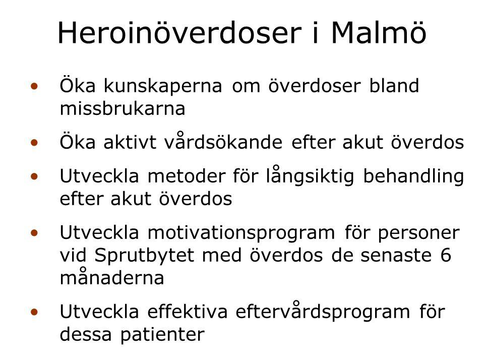 Öka kunskaperna om överdoser bland missbrukarna Öka aktivt vårdsökande efter akut överdos Utveckla metoder för långsiktig behandling efter akut överdo