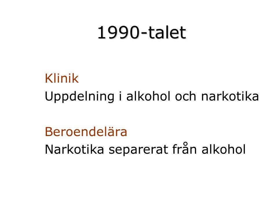 1990-talet Klinik Uppdelning i alkohol och narkotika Beroendelära Narkotika separerat från alkohol