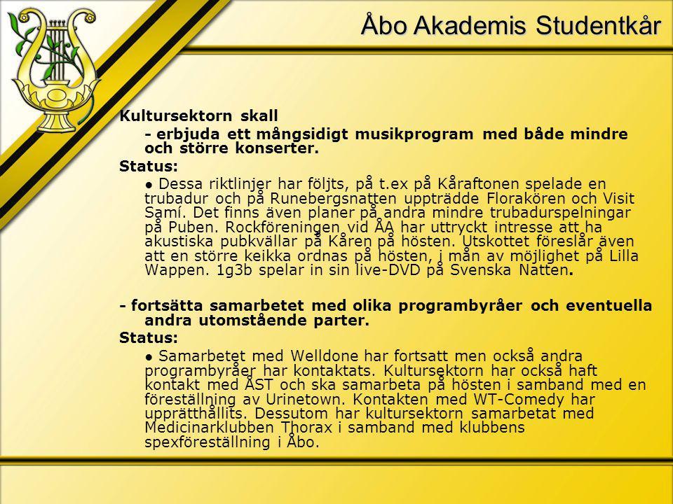 Åbo Akademis Studentkår Kultursektorn skall - erbjuda ett mångsidigt musikprogram med både mindre och större konserter.