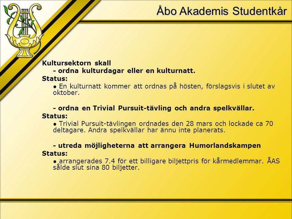 Åbo Akademis Studentkår Kultursektorn skall - ordna kulturdagar eller en kulturnatt.