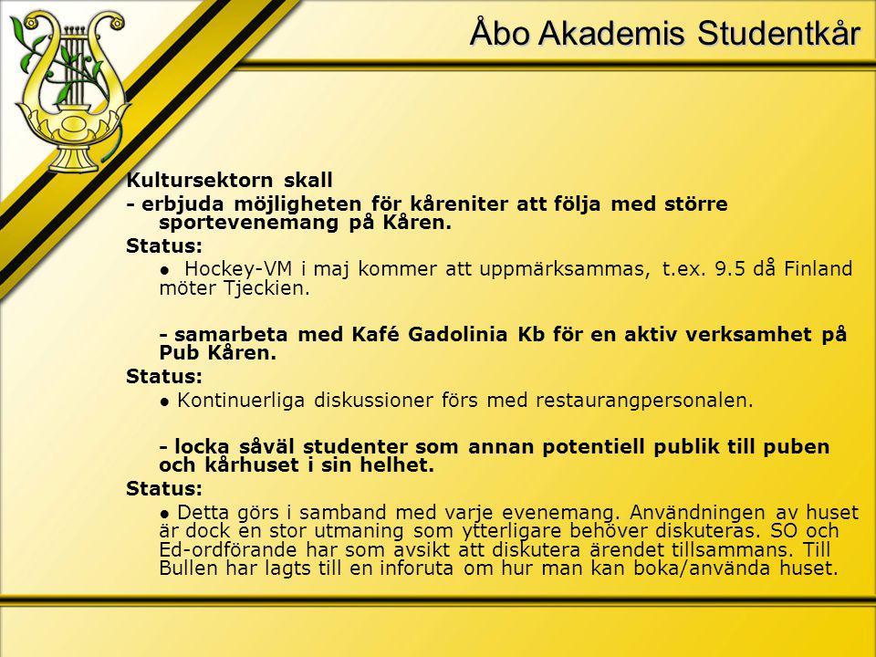 Åbo Akademis Studentkår Kultursektorn skall - erbjuda möjligheten för kåreniter att följa med större sportevenemang på Kåren.
