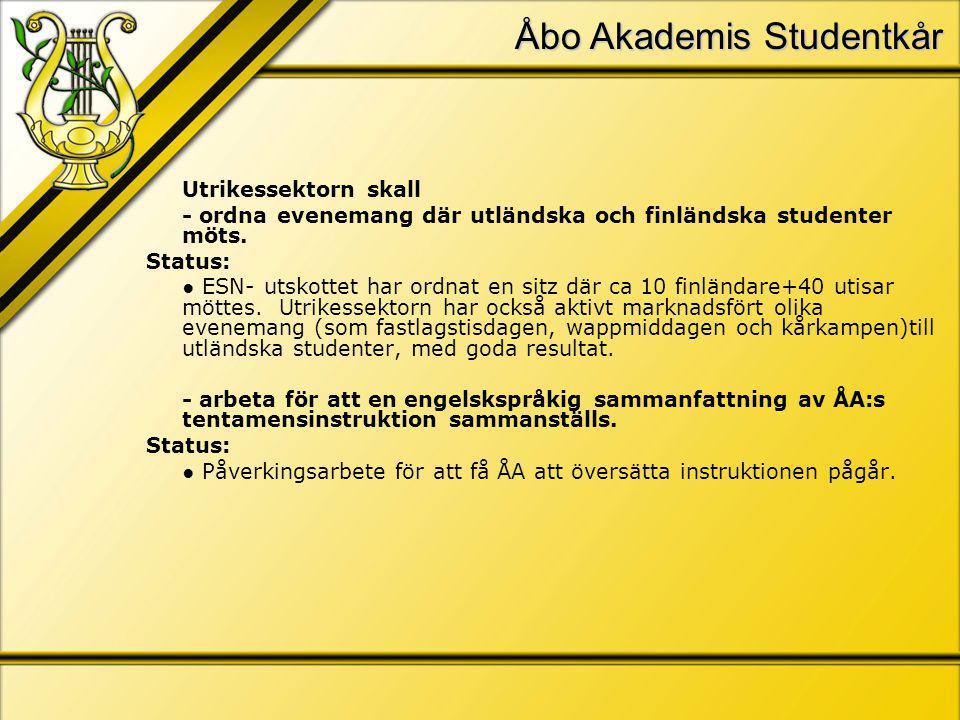 Åbo Akademis Studentkår Utrikessektorn skall - ordna evenemang där utländska och finländska studenter möts.